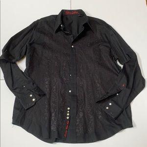 Robert Graham Black Embroidered Shirt sz. 2XLT